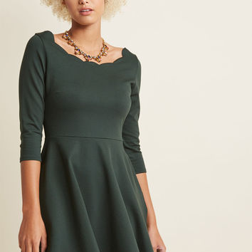 Jukebox Jams A-Line Dress in Hunter Green