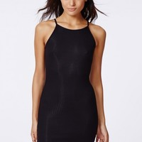 Missguided - Tessie 90's High Neck Ribbed Midi Dress Black