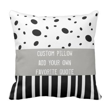 custom pillow add your own quote dots and stripes
