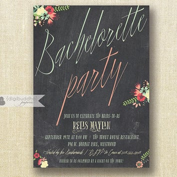 Chalkboard Bachelorette Party Invitation Mint & Coral Pastel Modern Script Floral Bridal Shower Hen Lingerie DIY Printable or Printed- Kelis