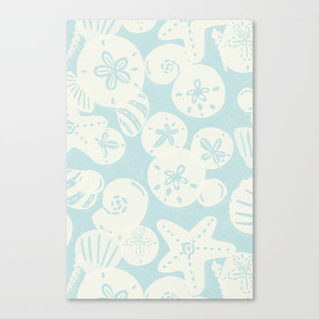Cream Seashells on Aqua Canvas Print by Noonday Design