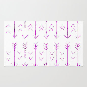 Purple Arrow Floor Rug - Door Rug - Hand Drawn Purple Arrows - Bathroom Rug  - Original Art - Throw Rug - Purple and White - Made to Order