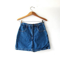 Vintage Culottes Skirt. Mini Jean Skirt. Dark Wash Denim Skirt. Shorts Skirt.