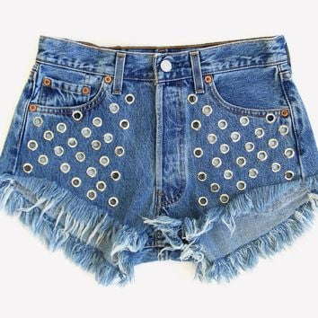 Eyelet Studded Vintage Shorts - One Of a Kind