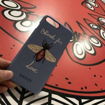 GUCCI Bee Fashion Print Embroidery iPhone Phone Cover Case For iphone 8 8plus iPhone6 6s 6plus 6s-plus iPhone 7 7plus blue