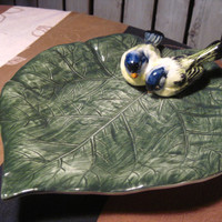 Ceramic Plate, Two Birds on a Leaf, Bassano Italy, Beautiful!