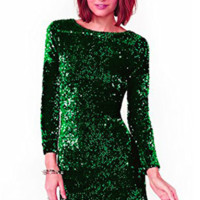 Green Sequined Party Bodycon Dress