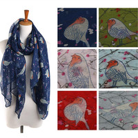 Winter Lovely Bird Print Scarf [9572852431]