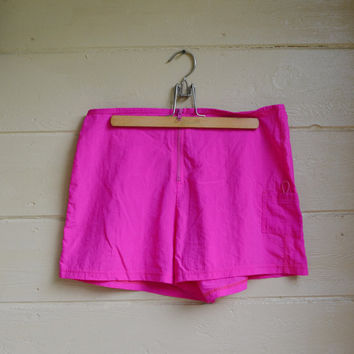 Vintage Catalina Swim Trunks Swim Shorts Neon Pink Shorts 1980s Neon Nylon Shorts Size Large