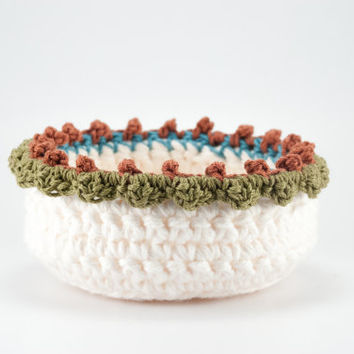 Ring dish, crochet bowl, ecru crochet basket, jewelry box, change tray, trinket holder, jewelry dish, rustic decor, boho chic, gifts for her