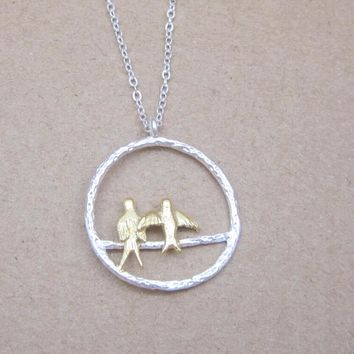 Fashionable Simple Two-color Sunshine Birds 925 Sterling Silver Necklace