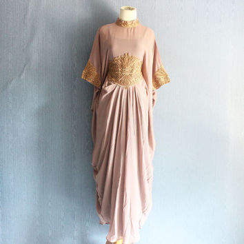 Light Brown Embroidery Caftan Dress, Handmade Abaya Maxi Kaftan Dress, Moroccan Dubai Adjustable Kaftan Dress, Gold Embroidery Kaftans
