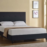 "New Century® Black Linen 47"" Inches Headboard Platform Bed With Slats"