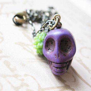 Day Of The Dead Necklace - Dia De Los Muertos Purple Plum Skull Necklace With Lime Green Flower - Providencia