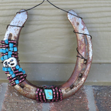 Horse shoe - Beaded horse Shoe - Country Girl - Country Decor