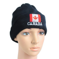 Unisex Winter Knitted Warm Beanie Hat Ski Cap Canada Country Flag Embroidery (Color: Black) = 1705604740