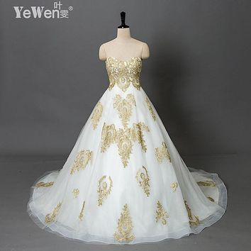 vintage beach plus size Gold white Sweetheart vestidos de novia praia cheap wedding dresses 2017 Lace african wedding gowns