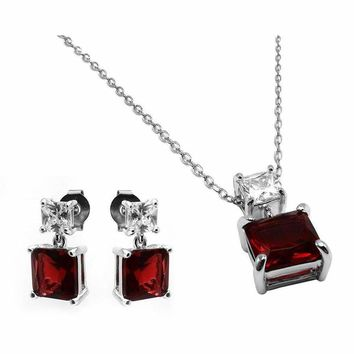 .925 Sterling Silver Rhodium Plated Square Created Garnet Earring Pendant  Necklace Set 18 iNCH