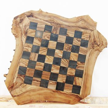 Personalized Olive Wood Chess Board, Wooden Chess Set Game, Dad gift, Grandad Gift