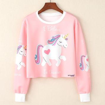 2017 Harajuku Kawaii Sweatshirt Women Cropped Pullover Pineapple Unicorn Cat Letters Print Casual Crop Tops Short Jumper Hoodie