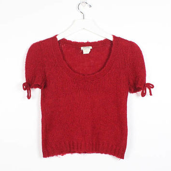 Vintage 90s Sweater Fuzzy Red Lightweight Knit Cropped Sweater Short Sleeve Bow Tie Trim Textured Jumper Crop Top Clueless Jumper XS S Small