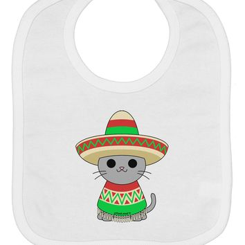 Cat with Sombrero and Poncho Baby Bib by TooLoud