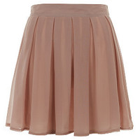 Petite Shell Pink Chiffon Box Pleat Skater Skirt