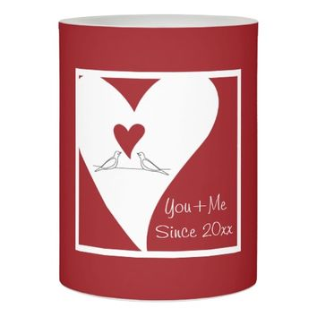 Cute White Birds in Love Personalized Red Flameless Candle