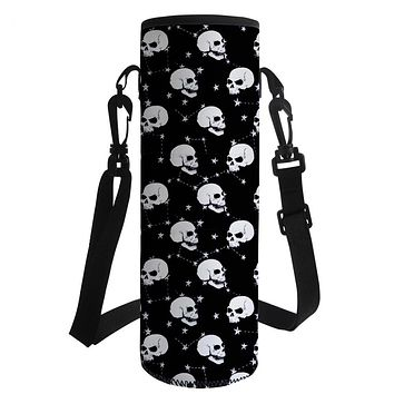 Black Sugar Skull Print Water Bottle Sleeve Insulated With Shoulder Strap