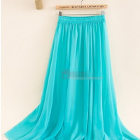 Women's Chiffon Long Mopping Pleated Skirt Beach Skirt Europe America 9Colors White 2016 New Spring Summer