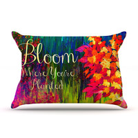 "Ebi Emporium ""Bloom Where You're Planted"" Floral Pillow Case"