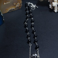 Black stone tourmaline necklace jewelry. Black beads necklace