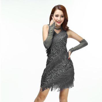 Vintage Gatsby Flapper Party Dress Sexy Bling Women V Neck Sleeveless Fringed Sequin Dance Dress Sheath Mini