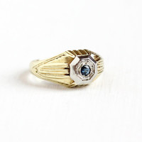 Vintage 14k White & Yellow Gold Genuine Blue Sapphire Solitaire Ring - Size 5 1/2 Art Deco Engagement Fine Jewelry September Birthstone