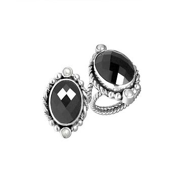 "AR-6108-CO1-7"" Sterling Silver Ring With Black Onyx & Pearl"