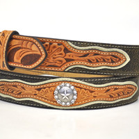 Nocona Men's Western Star Concho Leather Belt-Tan/Brown