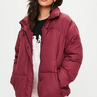 Missguided - Burgundy Ultimate Oversized Puffer Jacket