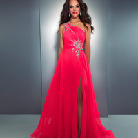 Mac Duggal Prom 2013- Neon Pink Chiffon One Shoulder Gown With Embellishments - Unique Vintage - Cocktail, Pinup, Holiday & Prom Dresses.