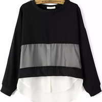Black and White Color Block Chiffon Sweater