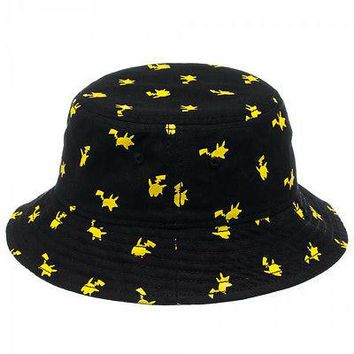 Nintendo Pokemon Pikachu All Over Print Bucket Cap Hat OFFICIAL LICENSED Black