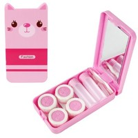 Cartoon Cat Contact Lens Travel Kit W/ 2 Lens Cases & 2 Solution Bottles (Pink)