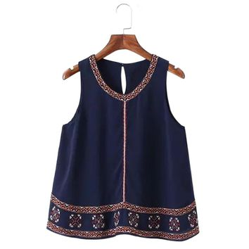 Vintage Scoop Collar Printed Embriodery Chiffon Women's Tank Top