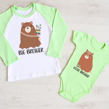 Woodland Tribal Big Brother and Little Brother Matching Shirts. Brother Bear Matching Set. Big Brother Little Brother Outfits