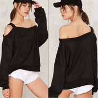 Black One Strap Shoulder Off Long Sleeve Blouse