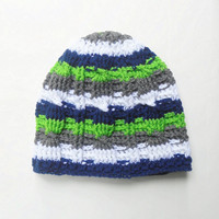 Striped Cable Stitch Beanie Hat in Seattle Team Colors of Navy Blue, Grey, White, and Neon Green, ready to ship.