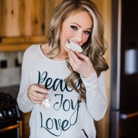 Peace, Joy & Love Long Sleeve Cream Top