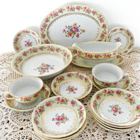 Vintage GoldCastle Japan 15 Piece Dinnerware Set Cream and Pink China Floral Pattern and Gold Etched Rim Antique Goldcastle