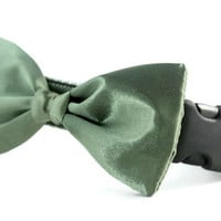 Olive Green Bow Tie Dog Collar - Dog Bow Tie Collar - Wedding Attire for Dogs - dog wedding - Dark Olive Green satin dog bow tie