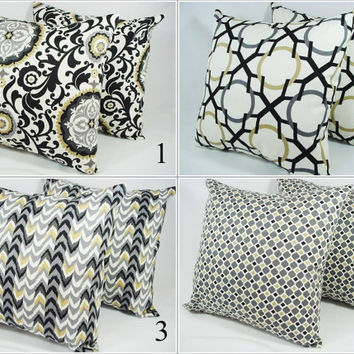 Choose Your Own Throw Pillow Covers Grey Black Brown and White - 18 x 18 inches Decorative Pillow Cushion Cover Accent Pillow
