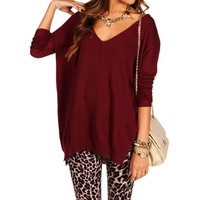 Pre-Order Burgundy Dolman Knit Sweater